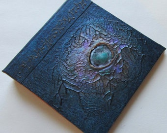 Handmade Journal Indigo blue copper nebula Refillable 4x4 OOAK Original jotter notebook