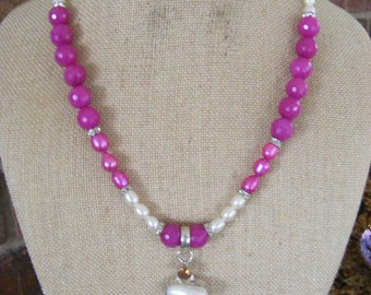 Fuschia Rose Topaz FW Pearls Rhinestone Rondelles Druzy Pendant .925 Sterling Silver Overlay Necklace