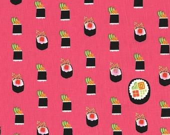 Michael Miller Fabric Maki Sushi in color Salmon, Choose your cut