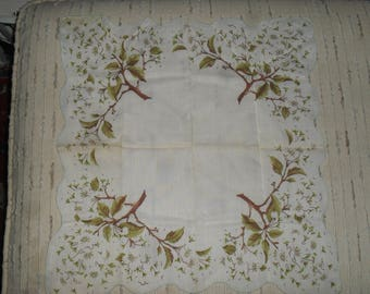 Vintage  Hankie Handkerchief - Brown & Green Flowering Tree Pattern