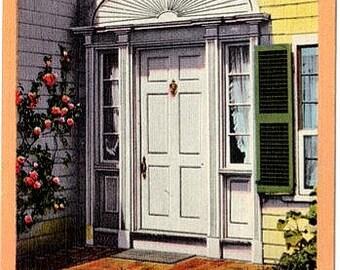 Vintage Martha's Vineyard Postcard - Doorway to the Emily Post House, Edgartown (Unused)