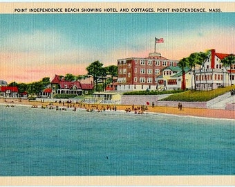 Vintage Cape Cod Postcard - Point Independence Beach in Onset, Wareham (Unused)