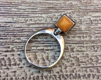 Vintage Amber Ring Silver