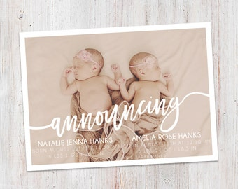Twins Birth Announcement : Announcing Twins Baby Girl Custom Photo Birth Announcement - Baby Announcement -  Photo Announcement