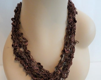 SALE Crocheted Necklace in Brown, Shiny, Sparkly, for Teen and Women, Stocking Stuffer
