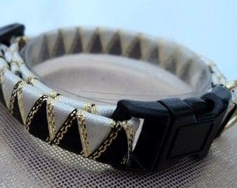 Breakaway Cat Collar in Black and White Braided Ribbon