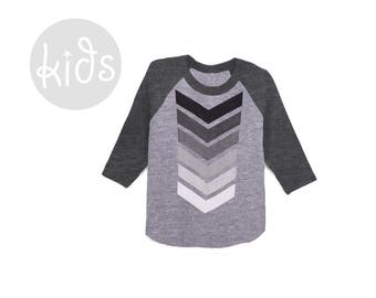 Geo Chevron Raglan Tee - 3/4 Sleeve Crew Neck Baseball Tshirt in Heather Black and Grey Ombre - Baby Kids & Youth Sizes