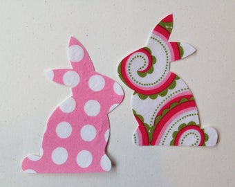 2 Small Fabric Iron On Bunny Appliques