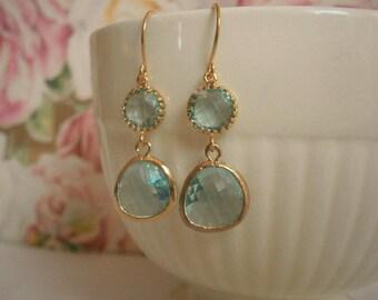 Clearance Sale, Aquamarine Earrings, Gold Earrings, Blue Earrings, Bridesmaid Earrings