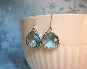 Aquamarine Earrings, Silver Earrings, Best Friend, Birthday, Bridesmaid Earrings, Mom Gift, Sister Gift