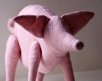 Big pink pig. Soft sculpture