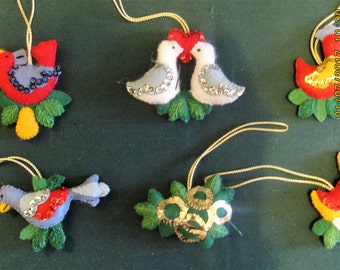 Vintage Handmade Felt, Sequin, and Embroidery Twelve Days of Christmas Ornaments from Bucilla Kit. 12 Days of Christmas. Handmade Ornaments.