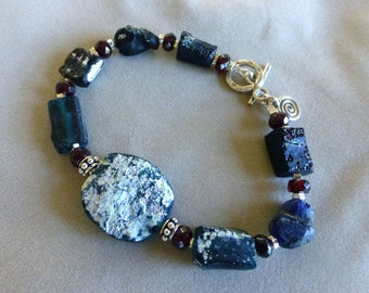Roman Glass, Roman Glass Jewelry, Roman Glass Bracelet, Ancient Roman Glass Bracelet, Garnet Bracelet, Gifts for Her