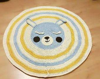 Crochet Rabbit Nursey Rug For Kids And Babies Room Decoration