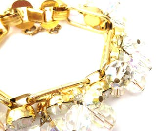 Gorgeous 1960's Unsigned Juliana D&E Fantasia Vintage Gold Tone Metal, Clear Rhinestone and Dangling Clear Glass Beaded Link Bracelet