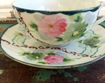 Vintage Teacup and saucer Eggshell China hand painted floral flowers Japan
