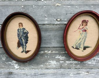 Antique Needlepoint Picture Victorian Pinkie and Blue Boy Oval frames