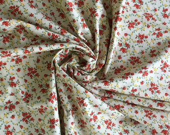 """Vintage Calico Quilt Fabric, 100% Cotton, VIP Cranston Print Works, 1yd + 24""""  Small Print Fabric, Sewing, Craft Fabric"""