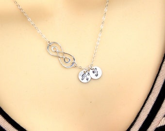 Double Infinity Necklace, Monogram Necklace, Initial Disc Necklace, Personalized Necklace, Sterling Silver