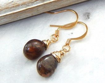 Andalucite Earrings,Wire Wrapped,Gold Filled,Bridesmaids Gift,Gemstone Earrings,Andaclucite Jewelry