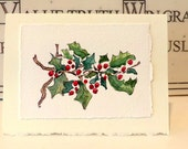 "Christmas Ivy Watercolor Original Little Card ""3.5"" x 4.78"" With Matching Envelope"
