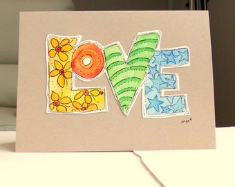 "LOVE...  Watercolor Original  Kraft Tan Card 5"""" x 6 7/8"" & Envelope  betrueoriginals"