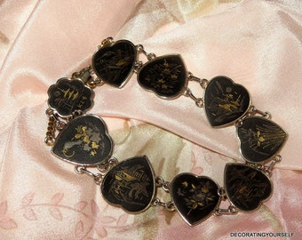 Japanese Amita Damascene K24 Bracelet Heart Japan