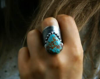 RESERVED -Looking Within - Pilot Mountain Turquoise Sterling Silver Ring