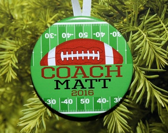 Football COACH Christmas Ornament - personalized - coach gift - C190