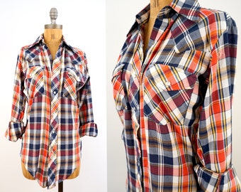 vintage 70s plaid AMERICANA pearl snap FITTED western shirt S