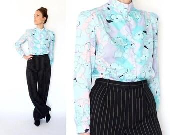 vintage PASTEL floral print SHIMMER blouse S-M