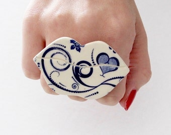 Lip Ring Ceramic Ring - Fall fashion, statement ring, lip art, big ring, ceramics and pottery, handmade by StudioLeanne