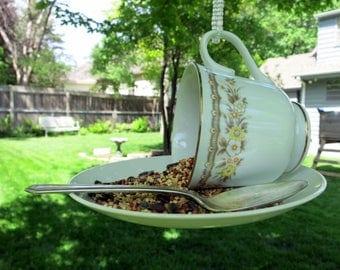 Teacup Bird Feeder, Repurposed Vintage China Teacup, Vintage China Cup Bird Feeder, Backyard Decor - TCBF115-116
