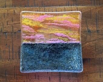 Sunset Ocean Sea, Fused Glass Dish, Handmade Kiln Formed, Orange Yellow Pink Sky, Coastal Beach Theme