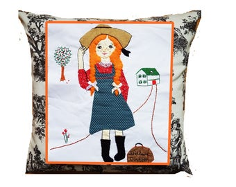 Anne of Green Gables Cushion Cover/Child Wall Hanging: Strong Female Story Character/ Mighty Girls Decor/ Tooth Fairy Pillow