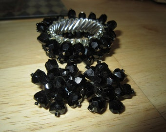 Black Faceted Cha Cha Stretch Bracelet with Earrings