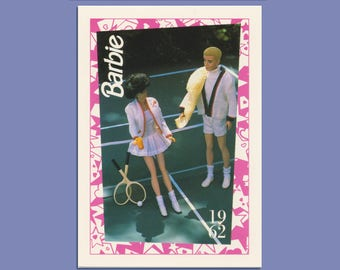 """Barbie Collectible Trading Card - """"Tennis, Anyone?"""" Barbie - """"Time for Tennis"""" Ken"""" -Card No. 111 dioramas, Barbie Ken History"""