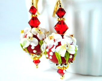 Red White Gold Floral Dangle Earrings, Flower Jewelry, Christmas Glass Earrings Holiday Party Jewelry Gold Filled Earrings Lampwork Earrings