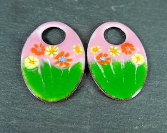 Pink Green Yellow Orange Floral Enameled Copper Earring Charms Spring Jewelry Components Enamel Earring Bead Pair Boho Hippie Earring Drops