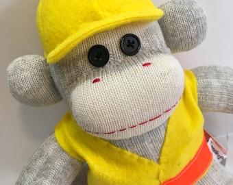 Bo the Construction Worker Sock Monkey