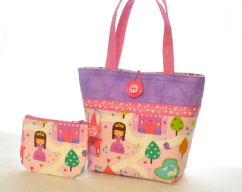 Pretty Princess Little Girls Purse Set Coin Purse and Mini Tote Bag Childs Purse Purple Pink Handmade MTO