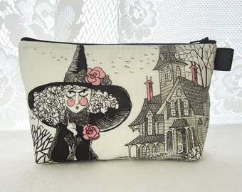 Ghastlies Fabric Large Cosmetic Bag Zipper Pouch Padded Makeup Bag Alexander Henry Mathilde Ghastlie Witch Haunted House White Black TGW MTO