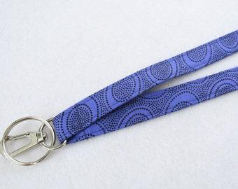 Aboriginal Dots Kaffe Fassett Fabric Lanyard Breakaway Lanyard Designer ID Badge Holder Clip Key Ring Fob Periwinkle Purple