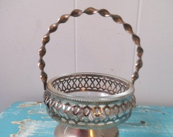 Vintage Silver plate and pressed Glass  Pedestal Ring Dish with Handle ~ Shabby chic ~ reticulated Trinket dish