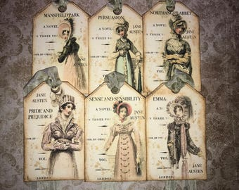 6 Jane Austen inspired tags, Jane Austen Novel tags.