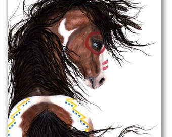 Christmas Sale - Only One left ready to ship - Majestic Paint Pinto Horse - 24x30 Inch Large Fine Art Print by Bihrle mm126
