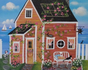 Sunset Cove Cottage ORIGINAL Folk Art Painting FREE Shipping
