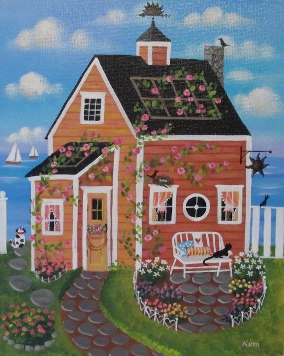 Sunset Cove Cottage ORIGINAL Folk Art peinture livraison gratuite