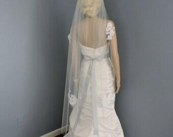 Wedding Veil French Alencon Lace Appliques, Bridal Veil, Wedding Veil