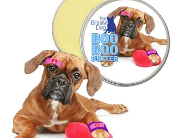 Boxer Boo Boo Butter Handcrafted All Natural Soothing Herbal Balm for Your Dog's Itchy Skin Irritations Discomforts 1 oz Tin Boxer Label
